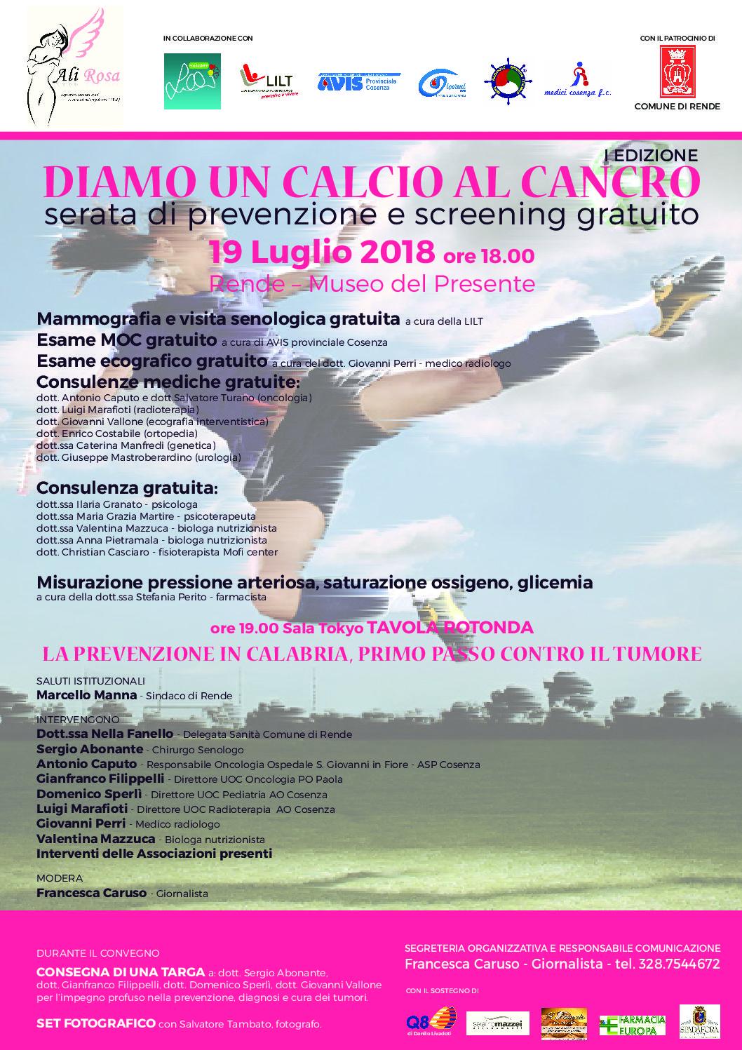 """Serata di prevenzione e screening """"Diamo un calcio al cancro"""" – Rende 19 luglio 2018"""