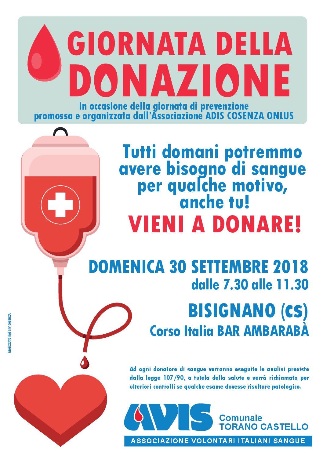 Prossima donazione sangue a Bisignano (Corso d'Italia)