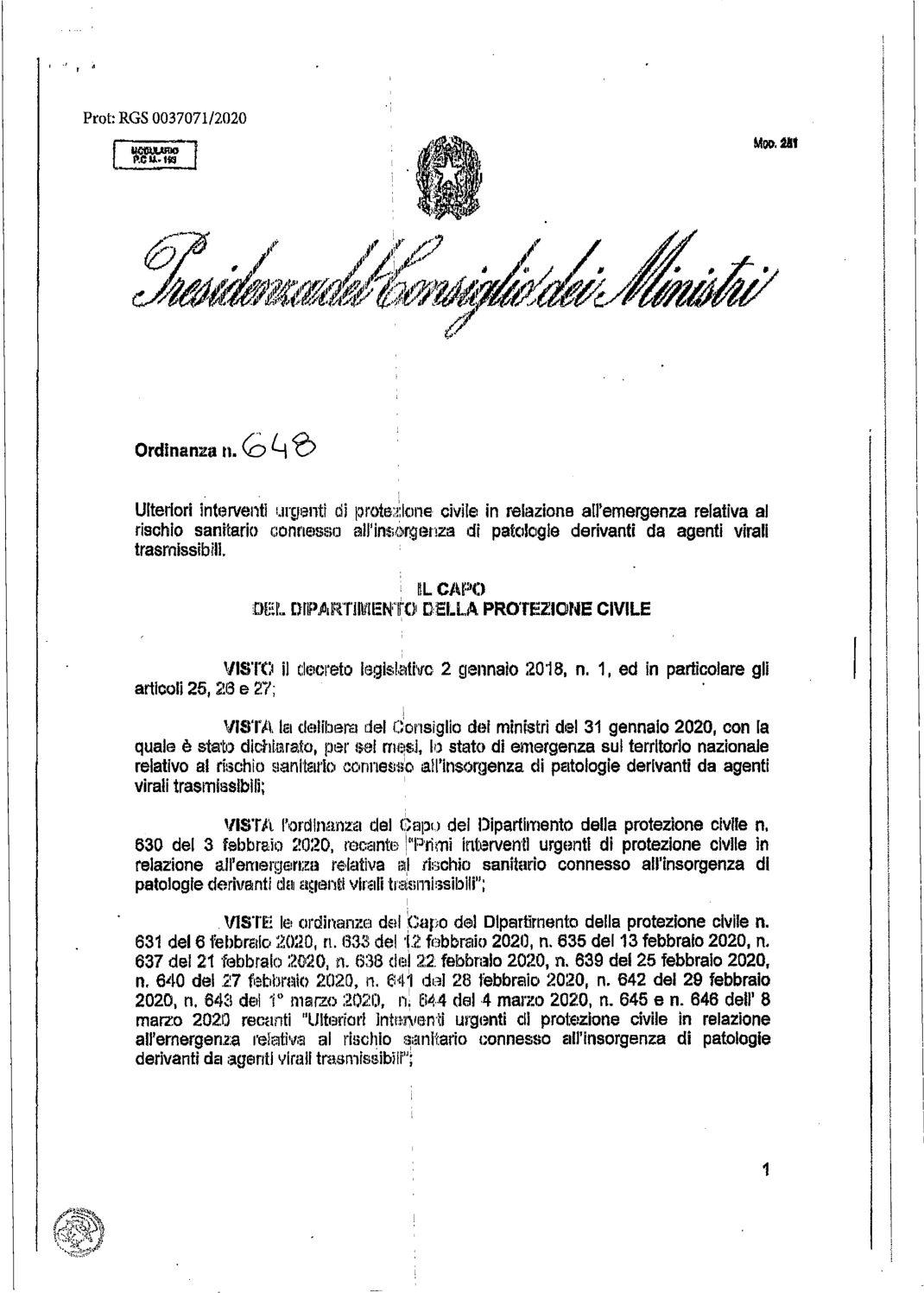 Ordinanza della Protezione Civile – 9 marzo 2020