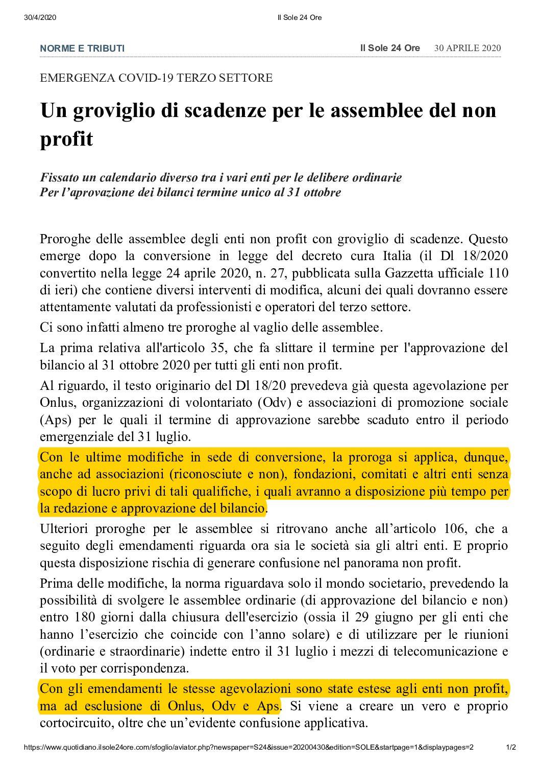 Approvazione Bilanci Associazioni no profit – Termine unico 31 ottobre 2020